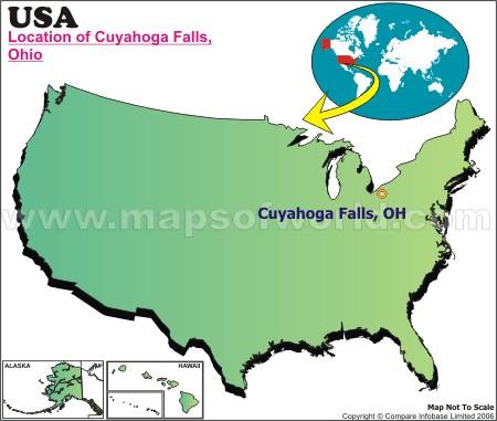 Location Map of Cuyahoga Falls, USA