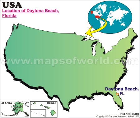 Location Map of Daytona Beach, USA