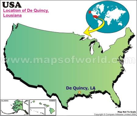 Location Map of De Quincy, USA