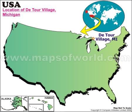 Location Map of De Tour Village, USA