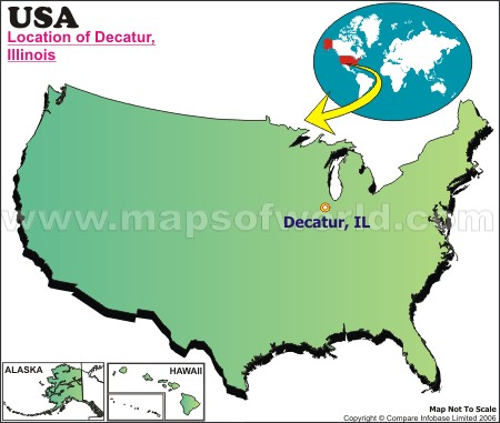 Location Map of Decatur, III., USA