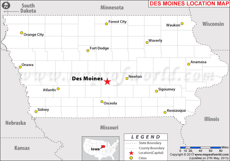 Where Is Des Moines Iowa - Iowa usa map