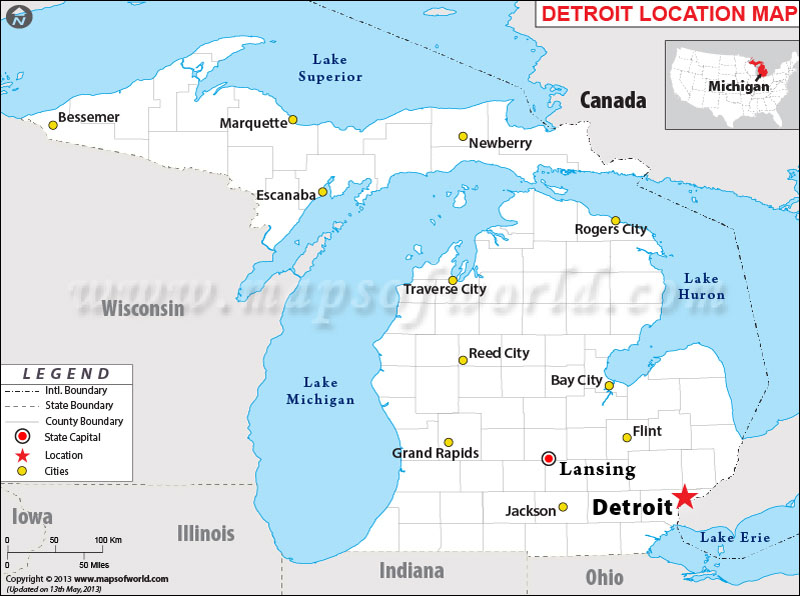 Where is Detroit, Michigan | Where is Detroit, MI Located in USA