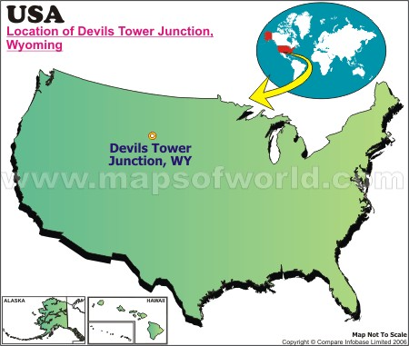 Location Map of Devils Tower Junction, USA