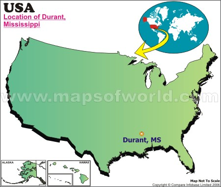 Location Map of Durant, Miss., USA