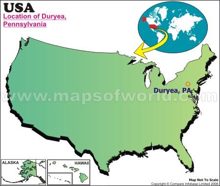 Location Map of Duryea, USA