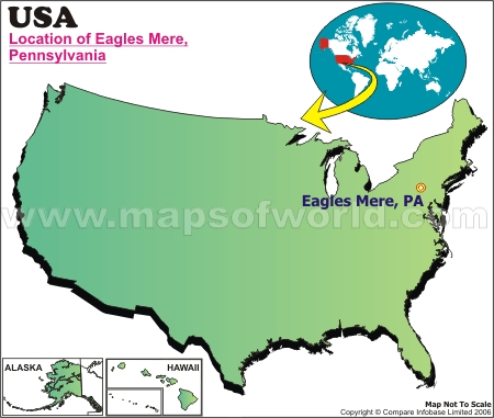 Location Map of Eagles Mere, USA