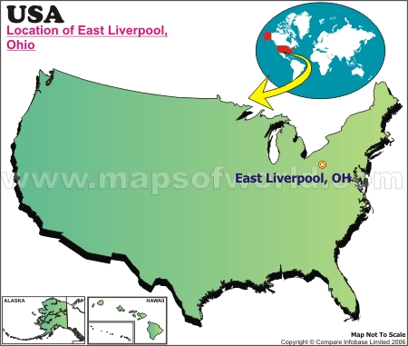 Location Map of East Liverpool, USA