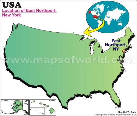 Location Map of East Northport, USA