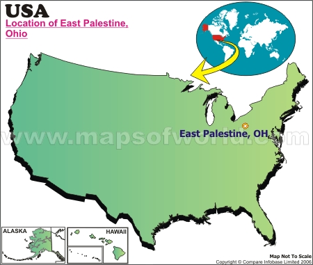 Location Map of East Palestine, USA