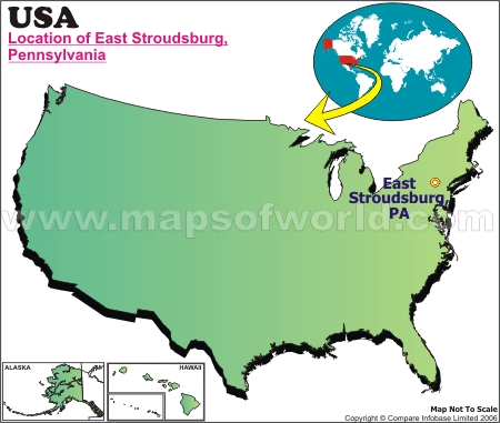 Location Map of East Stroudsburg, USA