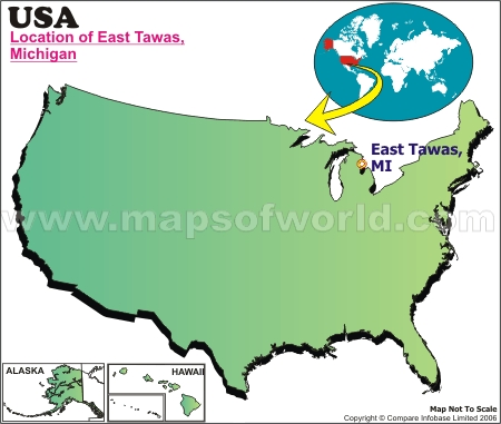 Location Map of East Tawas, USA