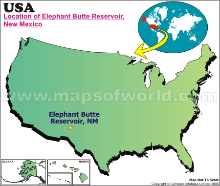 Location Map of Elephant Butte Reservoir, USA