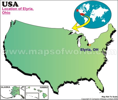 Location Map of Elyria, USA
