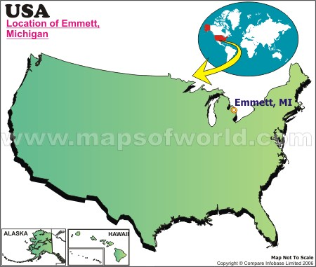Location Map of Emmett, Mich., USA