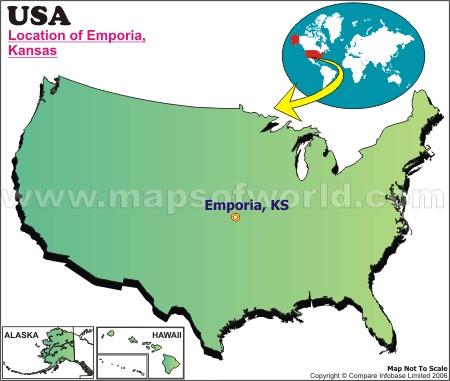 Location Map of Emporia, Kans., USA