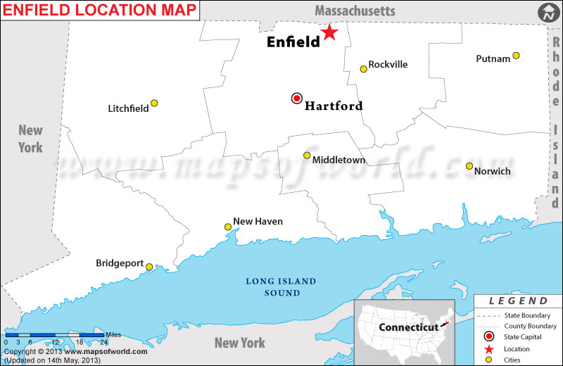 Where Is Enfield Located In Connecticut USA - Connecticut usa map