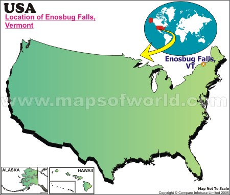 Location Map of Enosbug Falls, USA
