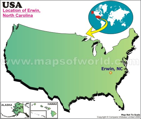 Location Map of Erwin, USA