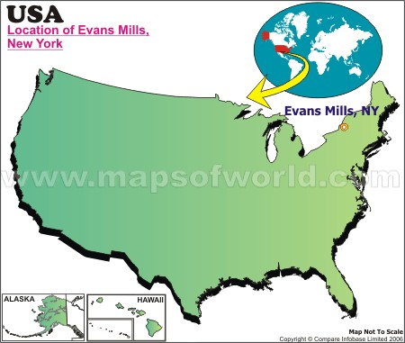 Location Map of Evans Mills, USA