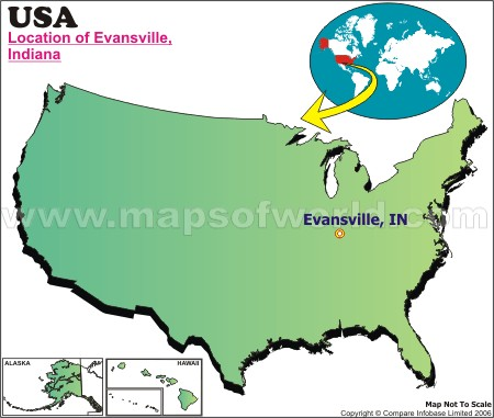 Location Map of Evansville, USA