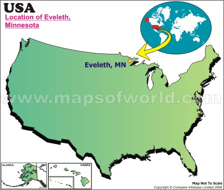 Location Map of Eveleth, USA