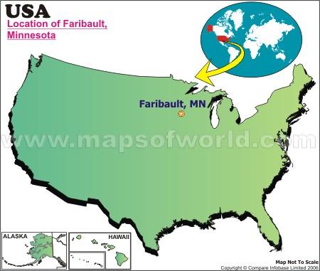 Location Map of Faribault, USA