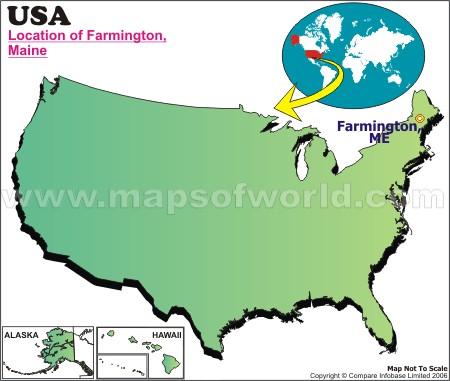 Location Map of Farmington, Maine., USA