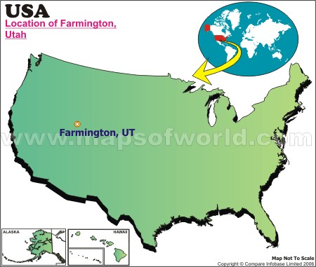 Location Map of Farmington, Utah., USA