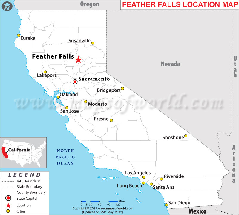 Where is Feather Falls located in California