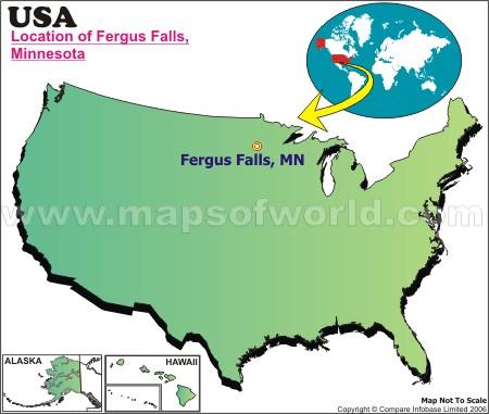 Location Map of Fergus Falls, USA