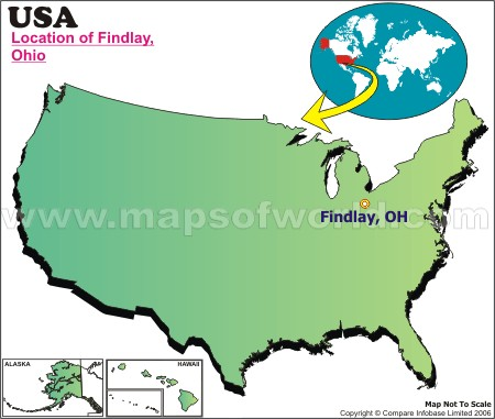 Location Map of Findlay, USA