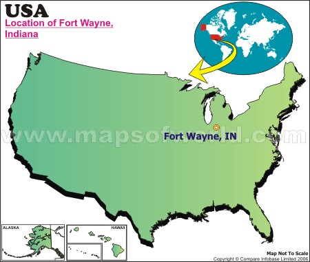 Location Map of Fort Wayne, USA