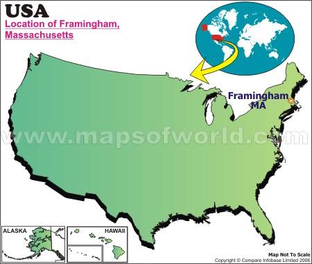 Location Map of Framingham, USA