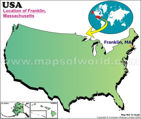 Location Map of Franklin, Mass., USA