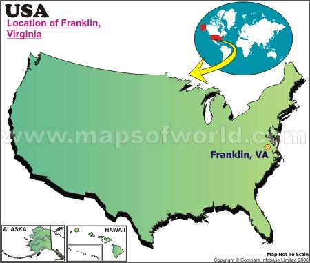 Location Map of Franklin, Va., USA
