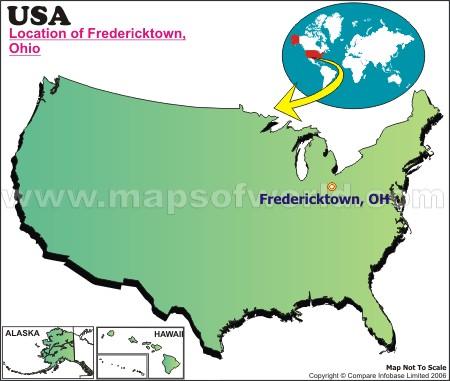 Location Map of Fredericktown, Ohio, USA