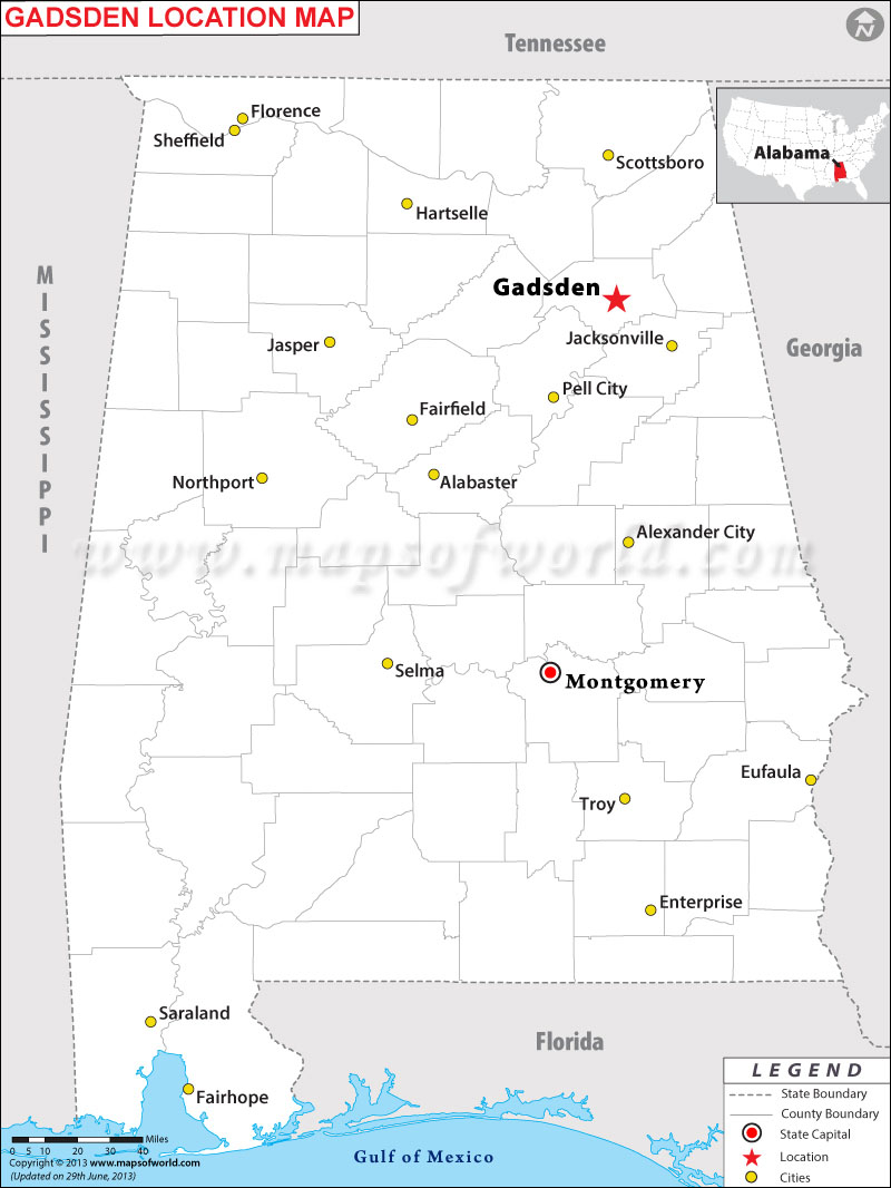 Where is Gadsden located in Alabama