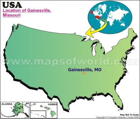 Location Map of Gainesville, Mo., USA