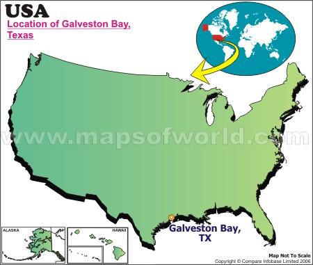 Location Map of Galveston B., USA