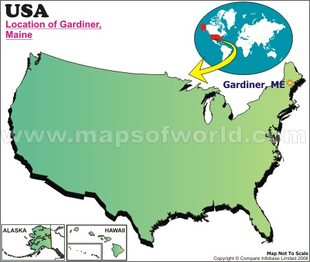 Location Map of Gardiner, Maine, USA
