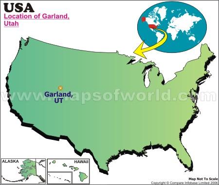Location Map of Garland, Utah, USA
