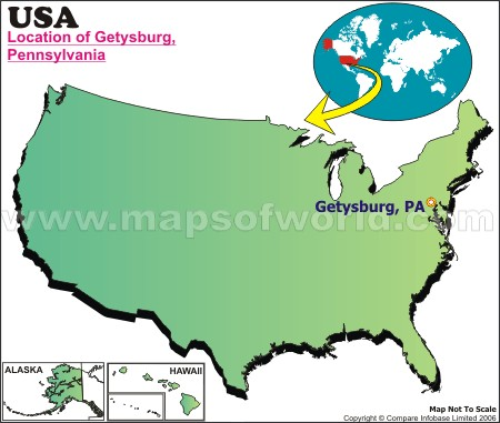 Location Map of Getysburg, Pa., USA