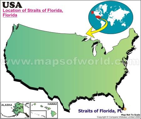 Location Map of Florida Straits , USA