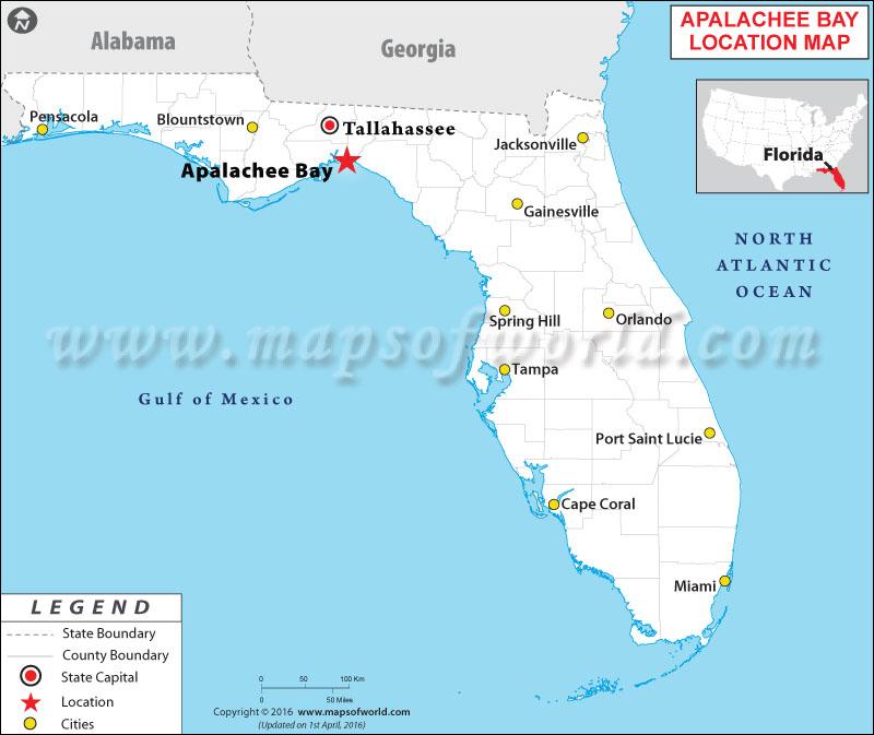 Location Map of Apalachee Bay, Florida