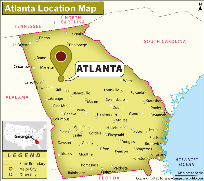 Where Is Atlanta Located In Georgia USA - Maps of georgia usa