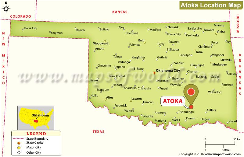 Where is Atoka Located in Oklahoma USA