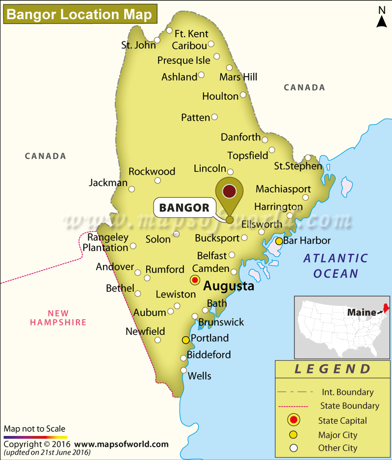 Where Is Bangor Located In Maine USA - Maine in usa map