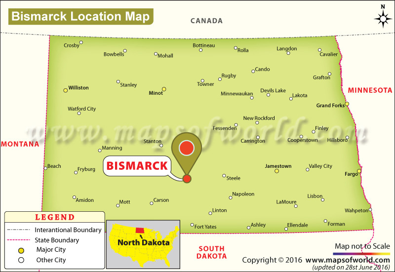 Where Is Bismarck Located In North Dakota USA