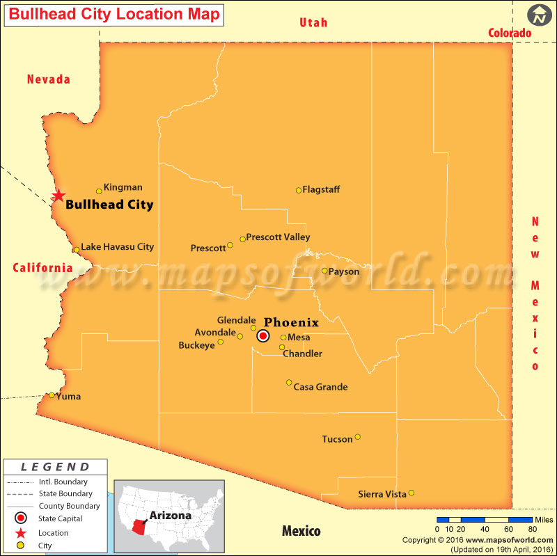 Map Of Arizona Bullhead City.Where Is Bullhead City Arizona